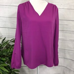 Banana Republic Magenta Split Sleeve Tunic NWT - M